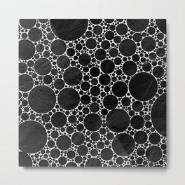 Modern Black and WHITE Textured Bubble Design Metal Print