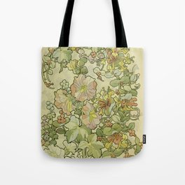 "Alphonse Mucha ""Printed textile design with hollyhocks in foreground"" Tote Bag"