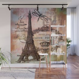 Eiffel tower collage Wall Mural