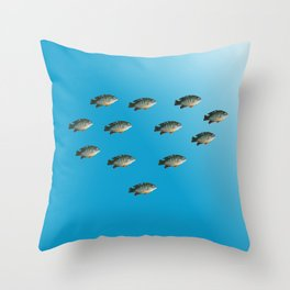 Green Sunfish Throw Pillow