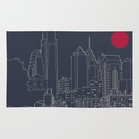 blueprint Area & Throw Rugs featuring Philly Blueprint by ralexandertrejo