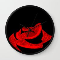 horror Wall Clocks featuring The Horror... The Horror... by Carlos Ramirez