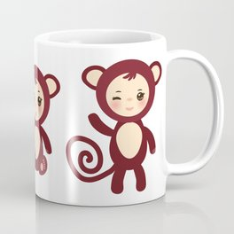 Set of funny brown monkey boys and girls on white background. Vector illustration Coffee Mug