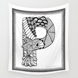 Zentangle P Monogram Alphabet Initials Wall Tapestry