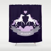 dreamer Shower Curtains featuring Dreamer by marsmensch