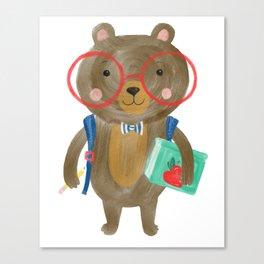 Back To School Bear Canvas Print