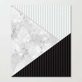 Valencia 1  Abstract black and white geometric pattern. Canvas Print