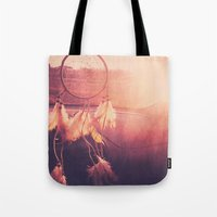 dream catcher Tote Bags featuring Dream Catcher by Whitney Retter