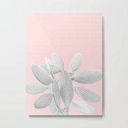 White Blush Cacti Vibes #1 #plant #decor #art #society6 Metal Print
