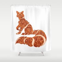 henna Shower Curtains featuring Henna fox by Dezi