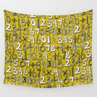 math Wall Tapestries featuring math doodle yellow by Sharon Turner