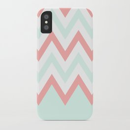 Mint & Coral Chevron (3) iPhone Case