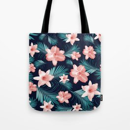 Tropical Flowers Palm Leaves Finesse #1 #tropical #decor #art #society6 Tote Bag