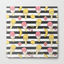 summer striped pattern with ice cream, strawberry, lemon, cherry and banana Metal Print