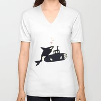 killer whale V-neck T-shirts featuring K is for Killer whale by Yetiland