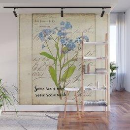 Blue Rustic Flowers Vintage Flower Quote Wall Mural