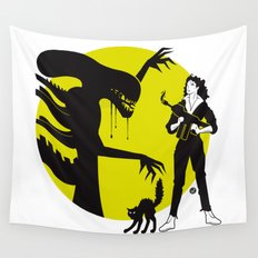 Alien Cartoon Style - Green Wall Tapestry