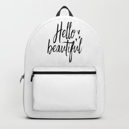 Hello Beautiful Print, Gift for Girlfriend, Valentines Day Gift, Girly Poster Backpack