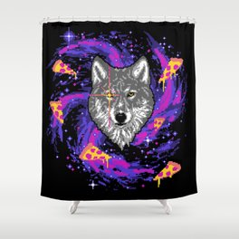 Galactic Pizza Wolf Shower Curtain