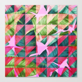 Abstract Hot Pink Banana Leaves Design Canvas Print