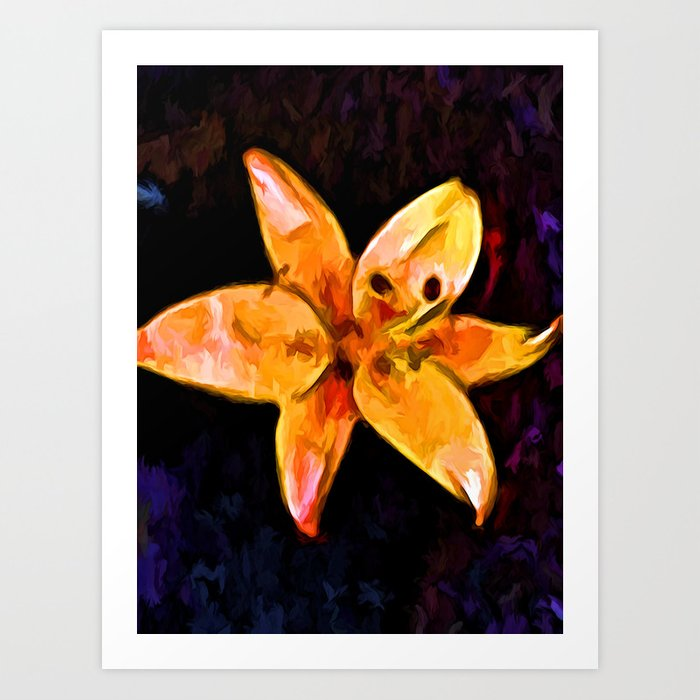 Still Life of an Orange Lily with some Purple Art Print