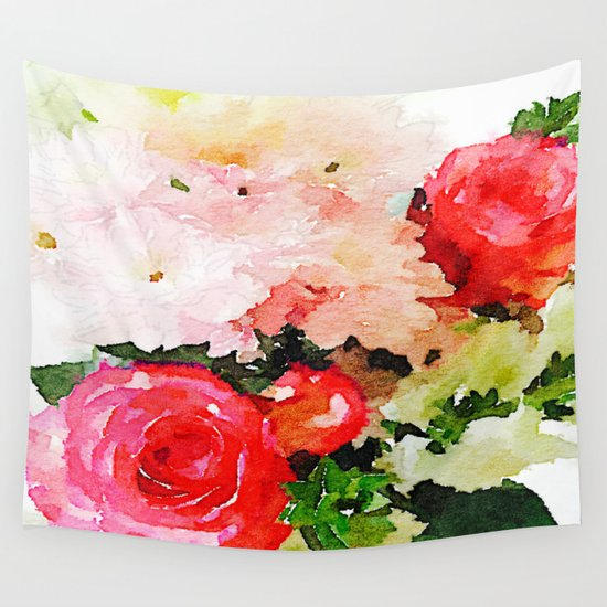 Garden Roses Watercolor Wall Tapestry