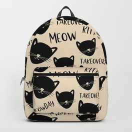 Funny black ivory kitty cat modern typography Backpack