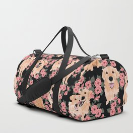 Golden Retrievers and flowers on Black Duffle Bag