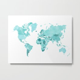Distressed world map in aquamarine and teal Metal Print