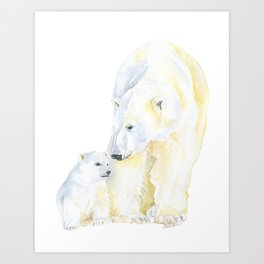 Mother and Baby Polar Bears Watercolor Art Print