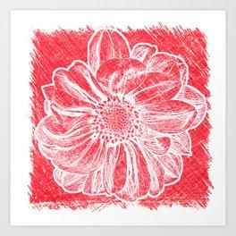 White Flower On Crayon Red Art Print