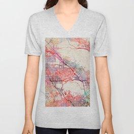Burbank map California painting Unisex V-Neck