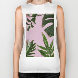 Tropical Palm Leaf Print Biker Tank
