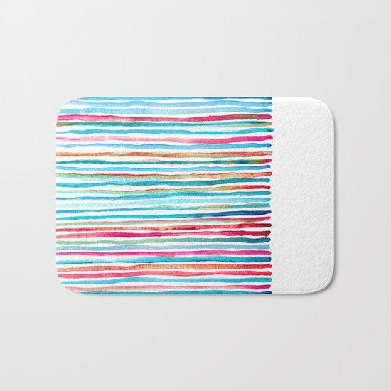Watercolor Stripes in Pink, Coral, Blue & Aqua Bath Mat