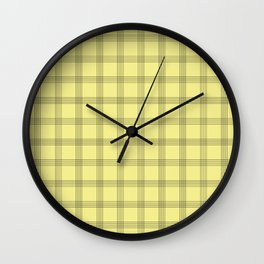 Black Grid on Pale Yellow Wall Clock