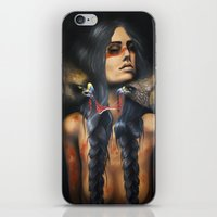 running iPhone & iPod Skins featuring Running Eagle by Chelsea Brown