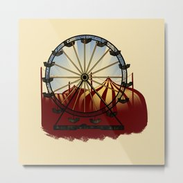 Old School Carnival Ferris Wheel Metal Print