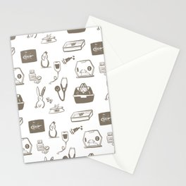 Dr Fluffton's exotics day Grey and White Stationery Cards