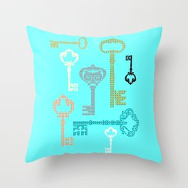 Art print bedroom decor interior design printing home decor keys bottles cups aqua green beig Throw Pillow
