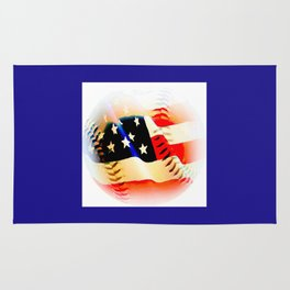 Baseball And Americn Flag Painting By Annie Zeno  Rug