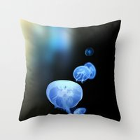 abyss Throw Pillows featuring Abyss by Art Goes Up