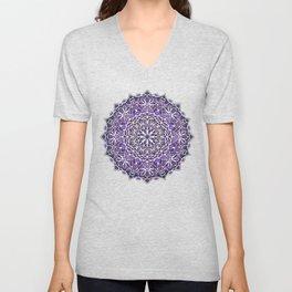 Eight Fold Mandala 6 in Purple Unisex V-Neck