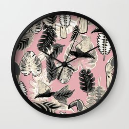 Pink tropical parrots and leaves sketch Wall Clock