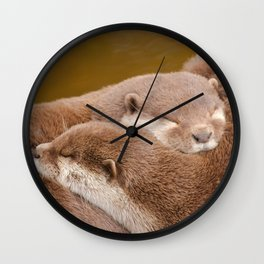 Cuddling Up Together - Otterly Cute Wall Clock