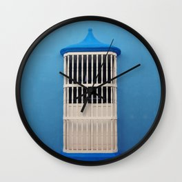 Blue Tones & White Window Wall Clock