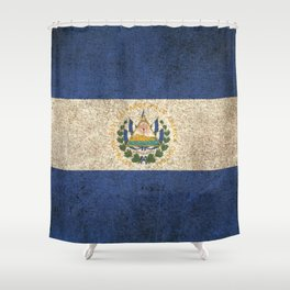 Old and Worn Distressed Vintage Flag of El Salvador Shower Curtain
