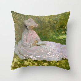 Monet, Springtime, 1872, oil on canvas Throw Pillow