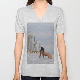 9835-SS Beautiful Naked Woman Nude Beach Condos Big Breasts Long Black Hair Sexy Erotic Art Unisex V-Neck
