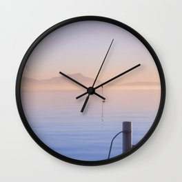 Peaceful Winter Sunset Over The Sea Wall Clock