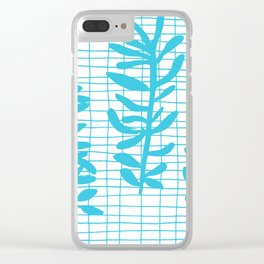 Grid Sprig - aqua blue Clear iPhone Case